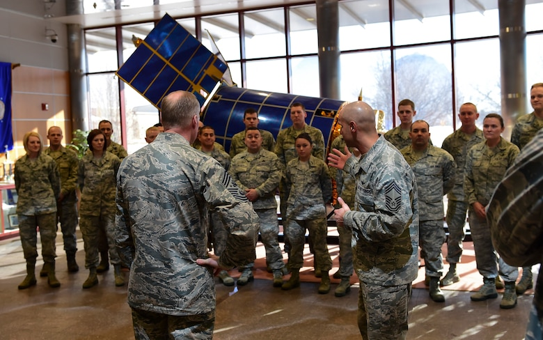 Chief Master Sgt. of the Air Force James A. Cody engages with Airmen of 460th Operations Group March 5, 2015, at Buckley Air Force Base, Colo. Cody visited Buckley to meet Airman and get an understanding of the base mission. (U.S. Air Force photo by Airman 1st Class Luke W. Nowakowski/Released)