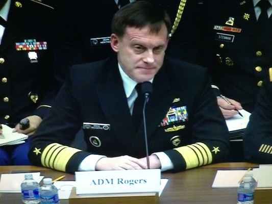 Navy Adm. Michael S. Rogers, commander of U.S. Cyber Command and director of the National Security Agency, testifies before the House Armed Services Committee improving the military cyber security posture in an uncertain threat environment, March 4, 2015. DoD photo by Cheryl Pellerin