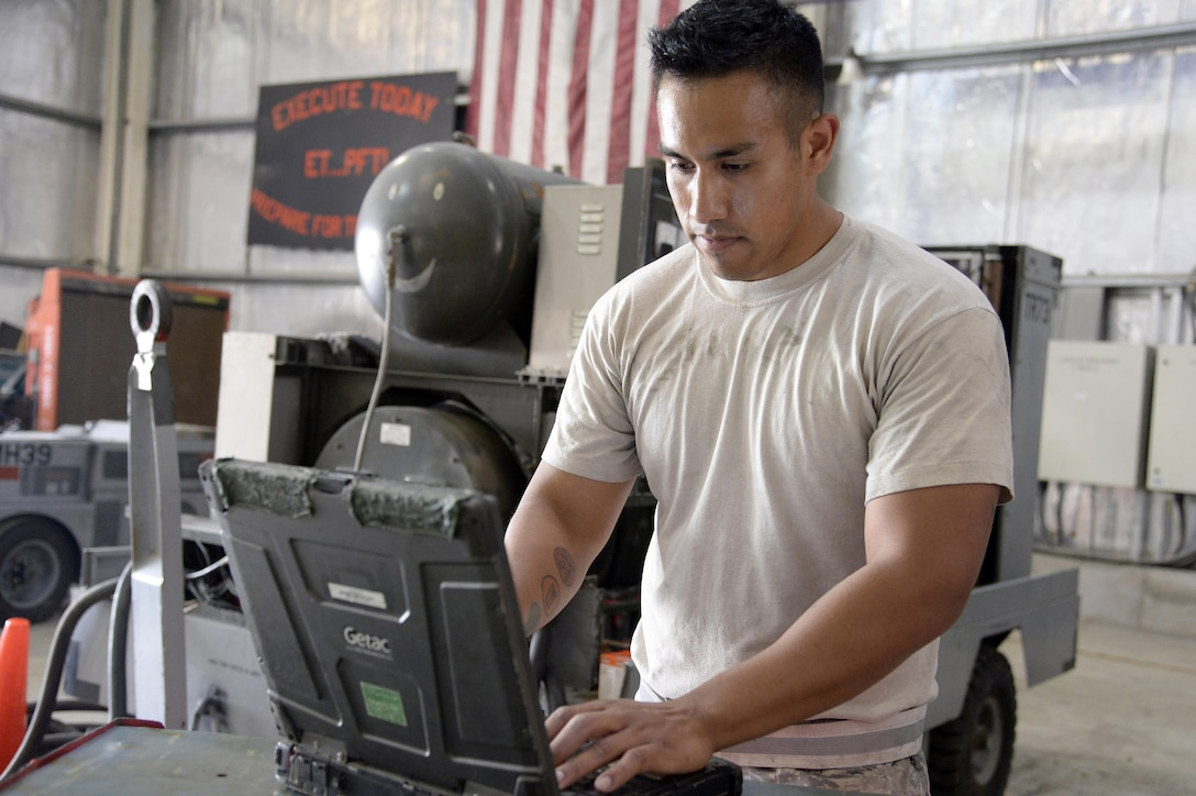 Staff Sgt. Jaime, aerospace ground equipment, prepares his technical order prior to performing a phase 2 inspection on an A/M32A-103 Generator at an undisclosed location in Southwest Asia Mar. 4, 2015. AGE maintains approximately 542 pieces of equipment. Jaime is currently deployed from Tinker Air Force Base, Okla., and is native of Oklahoma City, Okla. (U.S. Air Force photo/Tech. Sgt. Marie Brown) (RELEASED)