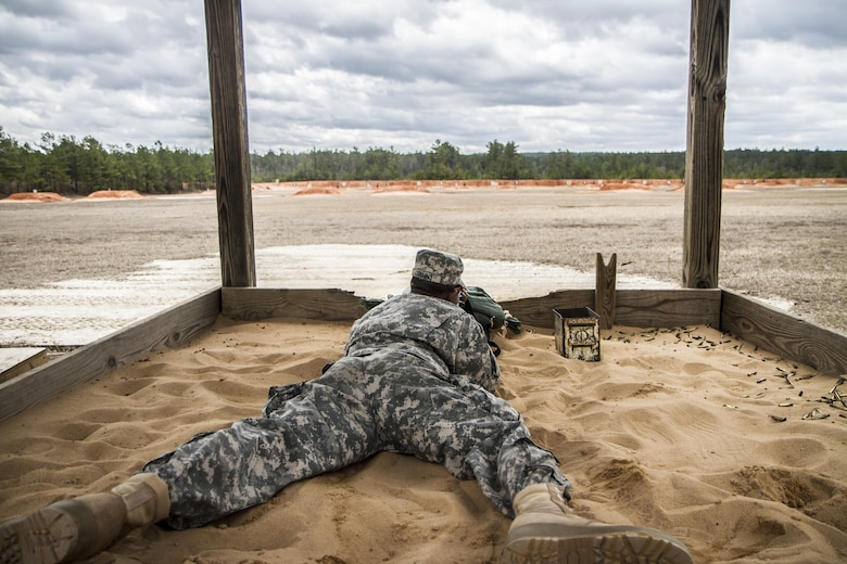 U.S. Army Reserve Pvt. Kevin Collins, E Company, 3-60 Infantry, knocks down targets from the prone supported position during week four of his basic combat training at Fort Jackson, S.C. Collins, who enlisted as a human resources specialist, is one of many new recruits to the Army and Army Reserve who is being trained by a group of Army Reserve drill sergeants in what is known as the Echo Mission. Every year, a team of Army Reserve drill sergeants from the 108th Training Command (IET) takes over a basic combat training company at one of the Army's four initial entry training posts and provides quality instruction and mentorship alongside their active duty counterparts. (U.S. Army photo by Sgt. 1st Class Brian Hamilton)