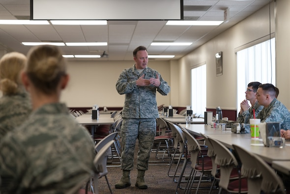 153rd Airlift Wing Command Chief Master Sgt. Michael D. Abbott spoke to about 20 enlisted members of the Rising 6 organization on the topic of managing a successful career in the Air National Guard, Mar. 7, 2015 at Cheyenne Air National Guard Base in Cheyenne, Wyoming. Rising 6 members consist of Airman in the ranks of Airman Basic to Tech. Sgt. who inform leaders of issues which impact involving Airmen and noncommissioned officers. (U.S. Air National Guard photo by Tech. Sgt. Galvin/released)