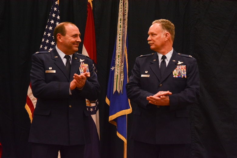 U.S. Air Force Col. David Halter, vice commander of the 139th Airlfit Wing retires at Rosecrans Air National Guard Base, St. Joseph, Mo., March 7, 2015. Halter retired after 30 years of military service and 6,100 flight hours as a navigator.  (U.S. Air National Guard photo by: Senior Airman Patrick P. Evenson/Released)