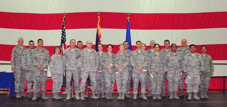 The 161st Air Refueling Wing, Phoenix Air National Guard Base, held its annual awards ceremony March 8, which recognized Airmen who completed their Community College of the Air Force associates degree in 2014. (U. S. Air National Guard photo by Master Sgt. Kelly M. Deitloff)