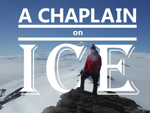 U.S. Air Force Chaplain Maj. Pete Drury stands atop Castle Rock, about an eight mile hike from the town of McMurdo, with Mt. Erebus in the background. Chaplain Drury completed a deployment to Antarctica in support of Operation Deep Freeze, which in turn supports the United States Antarctic Program scientific research efforts. (Air National Guard photo illustration by Staff Sgt. Amber Williams/Released)
