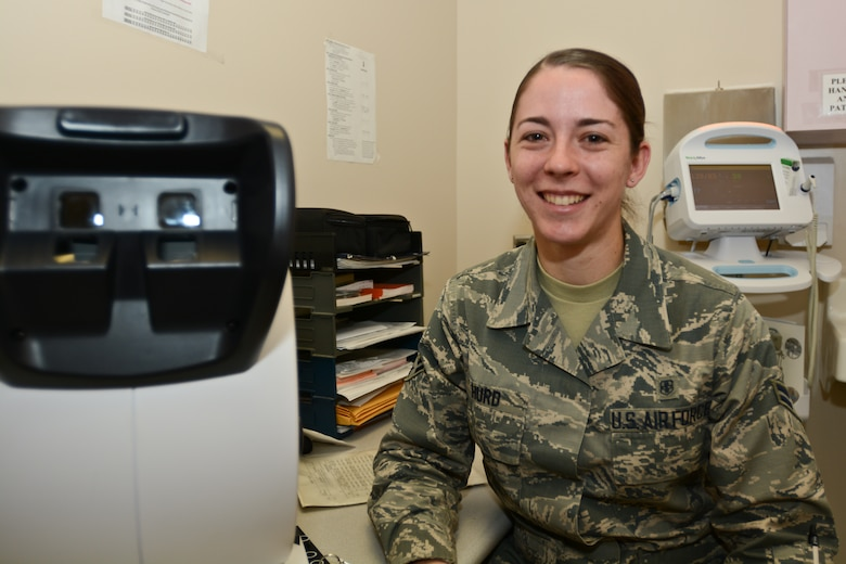 U.S. Air Force Airman First Class Chayla Hurd, an aerospace medical service specialist assigned to the 139th Medical Group, Missouri Air National Guard, prepares a patient examine at Rosecrans Air National Guard Base, St. Joseph, Mo., March 7, 2015.  Aerospace medical services are responsible for supervising and managing patient care for Airmen.  (U.S. Air National Guard photo by: Senior Airman Patrick P. Evenson/Released)