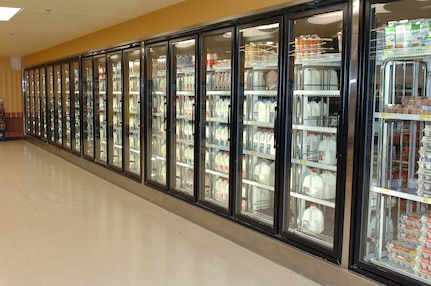 Construction at the Commissary at Fort Eustis, Va., includes installation of new refrigerators and freezers. Customers can also expect wider aisles and a new produce section. (U.S. Air Force photo by Staff Sgt. Teresa J. Cleveland/Released)