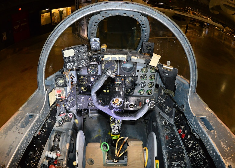 DAYTON, Ohio -- Martin B-57B Canberra front cockpit view in the Southeast Asia War Gallery at the National Museum of the U.S. Air Force. (U.S. Air Force photo by Ken LaRock)