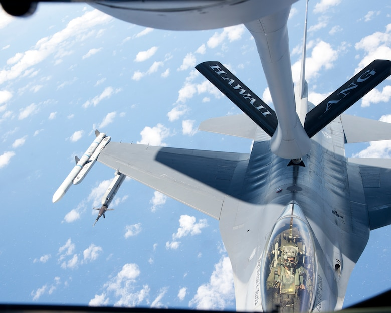 A U.S. Air Force F-16 Fighting Falcon from the 162nd Fighter Wing, Arizona Air National Guard, receives fuel from a KC-135R Stratotanker from the 96th Air Refueling Squadron, during the Hawaii Air National Guard exercises Sentry Aloha over Hawaii, March. 5, 2015. Sentry Aloha is the premier and primary training exercise to prepare multiple elements of the Air National Guard in the mission of homeland defense. (U.S. Air Force photo by Tech. Sgt. Aaron Oelrich/Released)