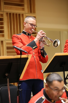 On Dec. 12, 2014, the Marine Big Band and Marine Jazz Combo rehearsed in the John Philip Sousa Band Hall at the Marine Barracks Annex in Washington, DC (U.S. Marine Corps photo by Master Sgt. Kristin duBois/released)