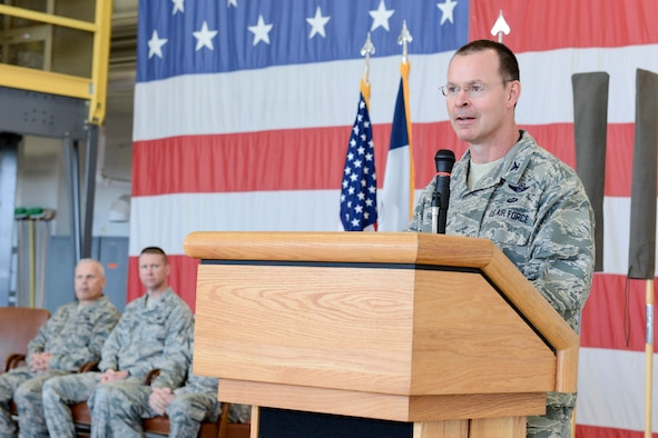 Col. Kevin Heer (standing at podium), Commander, 132d Wing (132WG), Des Moines, Iowa, speaks to members of the 132WG Intelligence Surveillance Reconnaissance Group (ISRG) during the 132WG ISRG Activation Ceremony held in the 132WG Fire House on Saturday, March 7, 2015.  This ceremony formally recognizes the official activation of the 132WG ISRG.  (U.S. Air National Guard photo by Staff Sgt. Linda K. Burger/Released)