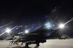 A Block 50, F-16, 148th Fighter Wing, Duluth, Minn. stands ready for its next mission during a Sentry Savannah 15-1 training exercise, Feb 11, 2015, Savannah, Ga.  Sentry Savannah 15-1 provides traditional Airmen wartime readiness training in an unfamiliar environment in an economical, accelerated timeframe.  (U.S. Air National Guard photo by Master Sgt. Ralph Kapustka/Released)
