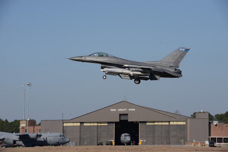 A Block 50, F-16, 148th Fighter Wing, Duluth, Minn. comes in for a landing during a Sentry Savannah 15-1 training exercise, Feb 11, 2015, Savannah, Ga.  Sentry Savannah 15-1 provides traditional Airmen wartime readiness training in an unfamiliar environment in an economical, accelerated timeframe.  (U.S. Air National Guard photo by Master Sgt. Ralph Kapustka/Released)