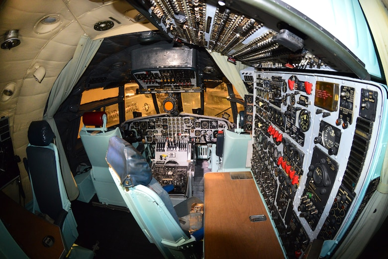 DAYTON, Ohio -- Douglas C-133A Cargomaster flight deck in the Cold War Gallery at the National Museum of the United States Air Force. (U.S. Air Force photo by Ken LaRock)
