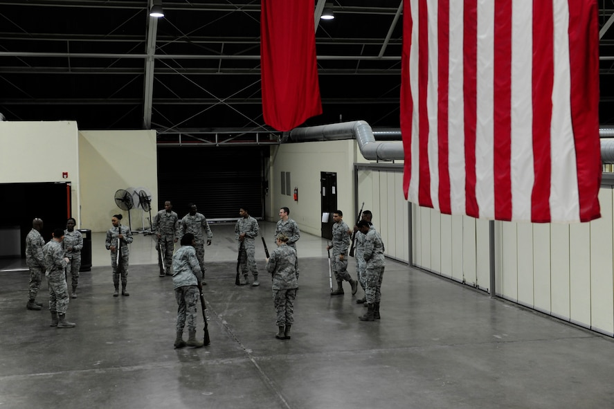 Incirlik Air Base Honor Guard guardsmen practice drill movements March 5, 2015, at Incirlik Air Base, Turkey. The guardsmen practice regularly to ensure they look their best while performing ceremonial duties around base. (U.S. Air Force photo by Senior Airman Krystal Ardrey/Released)