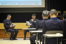 Members from the Japan Air Self-Defense Force demonstrate the interpersonal problem solving technique March 3, 2015, at the Ministry of Defense in Ichigaya, Japan. The technique is a five-step process to conflict resolution. (U.S. Air Force photo/Airman 1st Class David C. Danford)