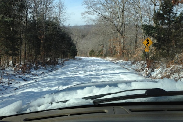 This is Old Lock A Road off Highway 49 in Dickson County, approximately two miles from the Cheatham Power Plant in Charlotte, Tenn.  It is covered with snow that employees drove on when headed to work March 6, 2015.