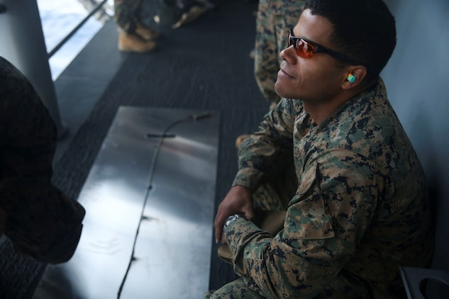 U.S. Marine Staff Sgt. Marques Castro participates in time fuse calculation sustainment training aboard the USS Essex (LHD 2) off the coast of San Diego Feb. 28, 2015. Castro is an explosive ordinance disposal technician with EOD Detachment, Combat Logistics Battalion 15, 15th Marine Expeditionary Unit. Doing this type of training ensures they are ready to prepare any breaching charges they may need during the MEU. (U.S. Marine Corps photo by Cpl. Anna Albrecht/Released)