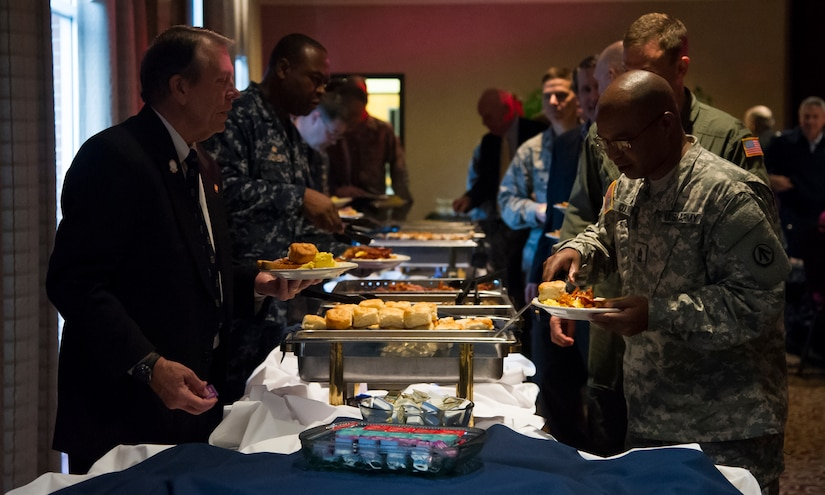 Guests attending the 2015 National Prayer Breakfast were presented with several breakfast options March 11, 2015, at the Red Bank Club on Joint Base Charleston – Weapons Station. All guests were treated to a free breakfast and had a chance to listen to speakers read scripture readings from different religions. (U.S. Air Force photo/Airman 1st Class Clayton Cupit)