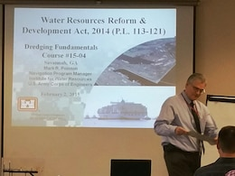Mark Pointon from the Institute for Water Resources (IWR) was one of the instructors for the Savannah Dredging Fundamentals course in February 2015.  Shown here about to discuss the Water Resources Reform & Development Act, 2014 – always an important topic for dredging.