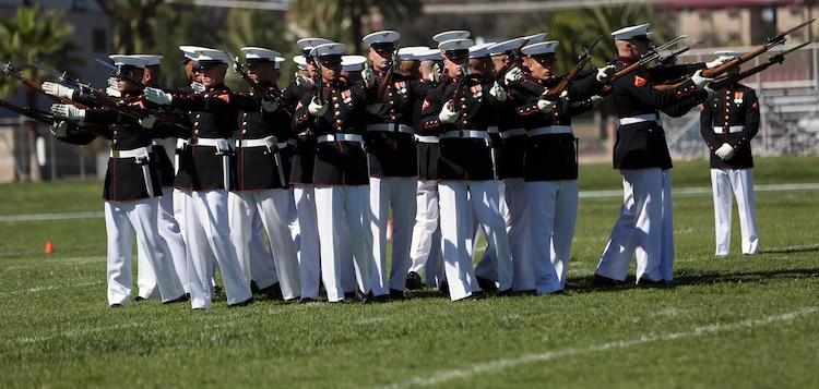 """The Marine Corps Battle Color Detachment performed in the 2015 Battle Colors Ceremony, Mar. 12. The Marine Corps Battle Color Detachment is a ceremonial unit from Marine Barracks Washington featuring """"The Commandant's Own,"""" The United States Marine Drum & Bugle Corps, The United States Marine Corps Silent Drill Platoon, and the Official Color Guard of the Marine Corps."""