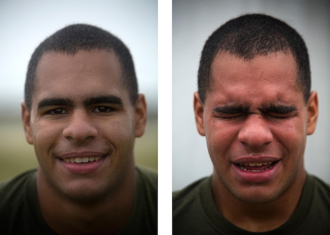 Lance Cpl. Anthony Bello poses for a photo before being sprayed with oleoresin capsicum, left, and after, right, March 6 on Marine Corps Air Station Futenma, Okinawa. Bello and other Marines temporarily assigned to the security augment force of Marine Corps Installations Pacific-Marine Corps Base Camp Butler, Japan, were introduced to the visceral sensation of the irritant to understand its effects and how to operate if they were exposed while spraying an assailant. Bello is an Everett, Mass., native and a rifleman currently assigned to 4th Marine Regiment, 3rd Marine Division, III Marine Expeditionary Force, under the unit deployment program.
