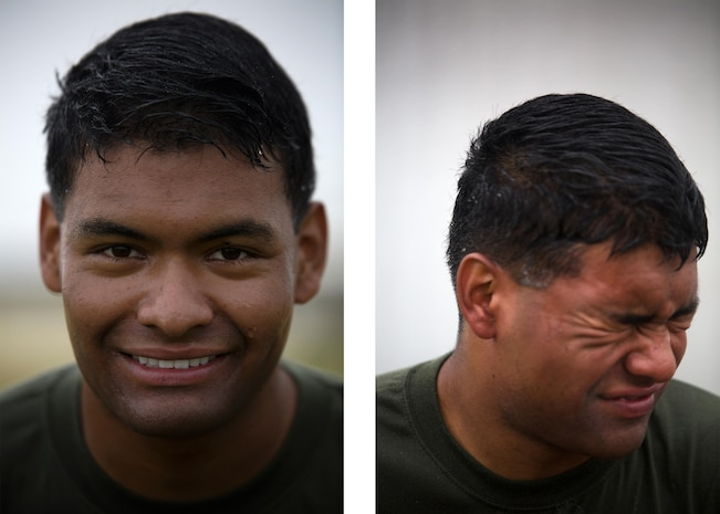 Lance Cpl. Isidro Johnsonsmith poses for a photo before being sprayed with oleoresin capsicum, left, and attempts to pose after, right, March 6 on Marine Corps Air Station Futenma, Okinawa. He and other Marines temporarily assigned to the security augment force for Marine Corps Installations Pacific- Marine Corps Base Camp Butler, Japan, were introduced to the visceral sensation of the irritant to understand its effects and how to operate if they were exposed while spraying an assailant. Johnsonsmith is a San Francisco, Calif., native and an aircraft mechanic with Marine Medium Tiltrotor Squadron 265, Marine Aircraft Group 36, 1st Marine Aircraft Wing, III Marine Expeditionary Force.