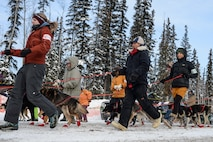 A team of sled dogs and dog mushers head toward the starting line at the Iditarod sled dog race March 10, 2015, Fairbanks, Alaska. Each dog sled team employed the assistance of several mushers in order to guide the dogs' movement and direction during a race start. (U.S. Air Force photo by Senior Airman Peter Reft/Released)