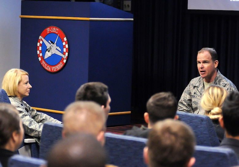 Col. David B. Burgy, 138th Fighter Wing commander, addresses airmen from the 138th Force Support Squadron during a wing commander's town hall meeting 8 March 2015, at the Tulsa Air National Guard base, Okla.   The command staff visited select units on the installation, and plan on rotating visitations throughout all the organizations during future UTA's.  (U.S. National Guard photo by Tech. Sgt. Roberta A. Thompson/Released)
