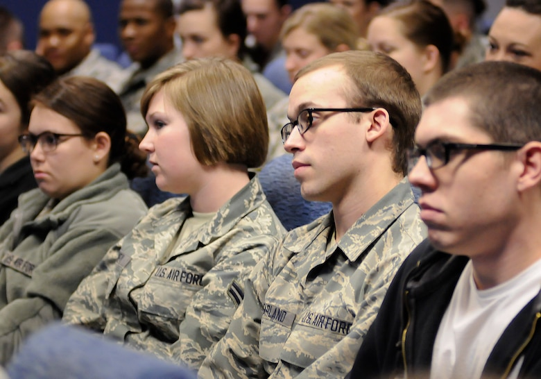Airmen from the 138th Force Support Squadron attend a wing commander's town hall meeting 8 March 2015, at the Tulsa Air National Guard base, Okla.   The command staff visited select units on the installation, and plan on rotating visitations throughout all the organizations during future UTA's.  (U.S. National Guard photo by Tech. Sgt. Roberta A. Thompson/Released)