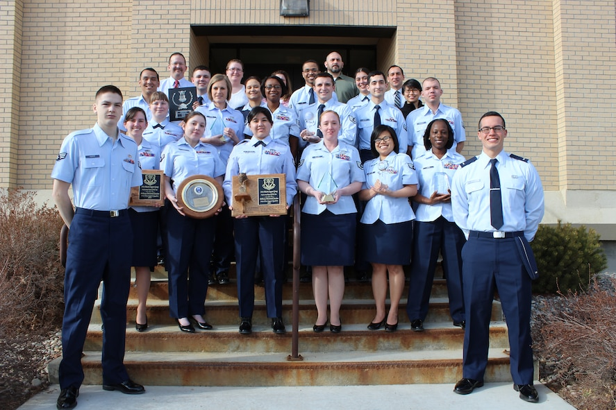 Members of the 341st Force Support Squadron military personnel section pose for a photo Feb. 18 with the awards they have won at Malmstrom Air Force Base, Mont. In the past six years, the team has won five Global Strike Command awards, two 341st Mission Support Group awards, one 20th Air Force award and one Air Force award for various excellences in the MPS field. (Courtesy photo)