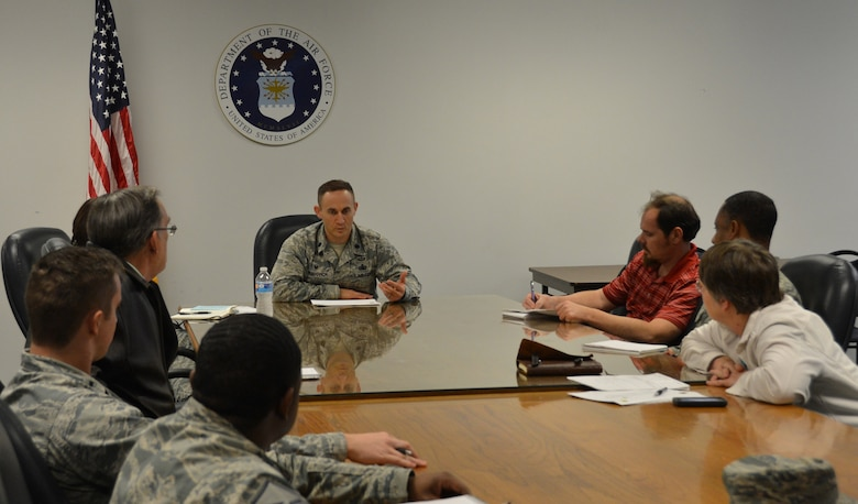 Lt. Col. James Gherdovich, 2nd Logistics Readiness Squadron commander, conducts a meeting with staff members on Barksdale Air Force Base, La., March 11, 2015. As commander, Gherdovich leads the squadron that directs vehicle management, fuels management and sets the stage for any mission by integrating the spectrum of logistics processes within operational, acquisitions and wholesale environments. (U.S. Air Force photo/Senior Airman Benjamin Gonsier)
