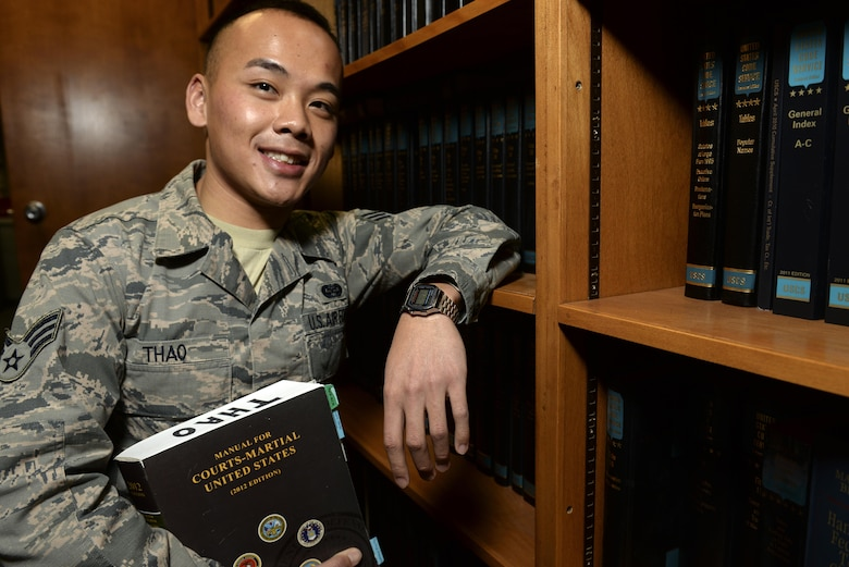Senior Airman Yia Thao, was born in Thailand in the American refugee camp of Bamvinah. Thao was recently selected for the Airman Scholarship Commissioning Program, which offers active-duty enlisted personnel who can complete all bachelor degree and commissioning requirements in 2 to 4 years, the opportunity to earn a commission as an Air Force ROTC cadet. Currently, Thao is a 19th Airlift Wing Judge Advocate paralegal. (U.S. Air Force photo/Staff Sgt. Jessica Condit)