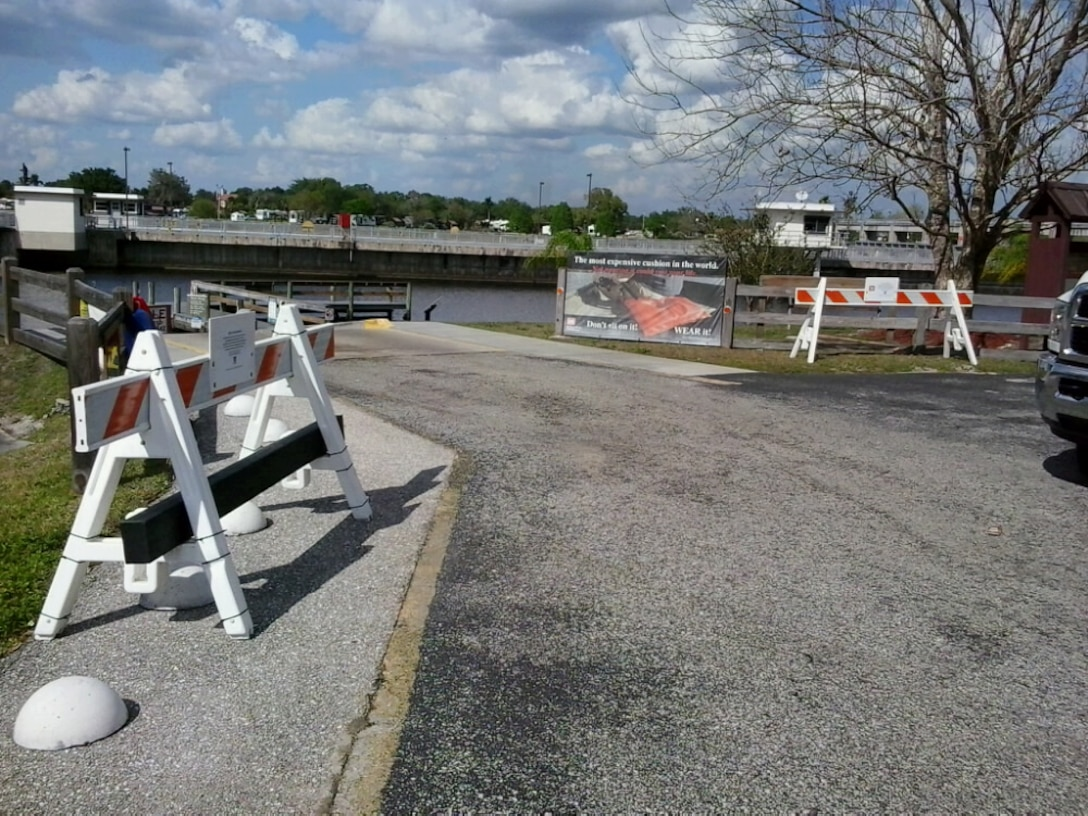Boat ramp at the W.P. Franklin South Recreation Area at the W.P. Franklin Lock and Dam on the Caloosahatchee River.