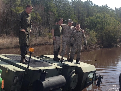 Marines from 8th Communication Battalion Motor Transport conducting wrecker training at LZ Falcon during the II MHG Field Exercise on 13 March 2015.