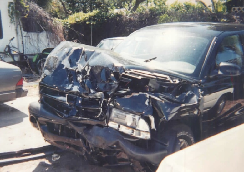 Pictured is the vehicle that hit the car of Roberta Clark, 45th Space Wing Safety, at the main gate of Patrick Air Force Base, Fla., April 11, 2003. The vehicle ran the red light when Clark was exiting the main gate and crashed into her. (Courtesy photo)