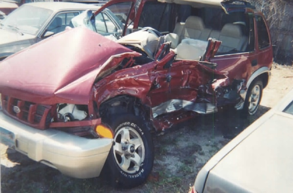 The car of Roberta Clark, 45th Space Wing Safety, is pictured following an accident at the main gate of Patrick Air Force Base, Fla., April 11, 2003. She was exiting the main gate when a vehicle ran the red light and stuck her. She spent three months in the hospital and a month in rehabilitation following the accident. (Courtesy photo)