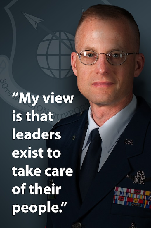 Col. Todd Schollars, 30th Mission Support Group commander, continually demonstrates his leadership qualities by engaging his Airmen where they work. Despite his positional status as a group commander, Schollars says the wellness of his subordinates has and will always be a top priority. (U.S. Air Force graphic by Jan Kays/Released)