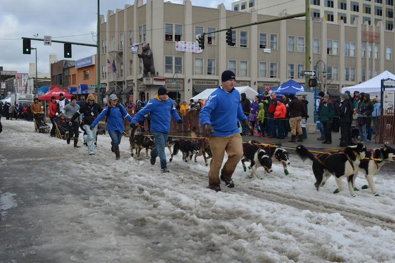 Members of the 477th Fighter Group work as dog handlers during Iditarod 2015 to support the Air Force Reserve's recruiting mission. This year marks the 43rd running of the Iditarod and the first year of the Air Force Reserve's sponsorship. (U.S. Air Force/Capt. Megan Liemburg-Archer)