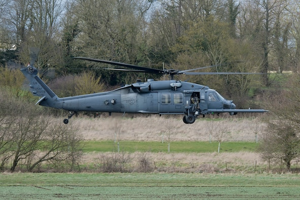 A 48th Fighter Wing HH-60G Pave Hawk clears an area during combat search and rescue training March 5, 2015, in the hilly terrain of Hinderclay, England. The training included Tornado GR4 pilots, Royal air force Regiment personnel and U.S. Air Force HH-60G aircrew. They worked together to suppress simulated enemies and make a successful recovery. (U.S. Air Force photo/Airman 1st Class Trevor T. McBride)