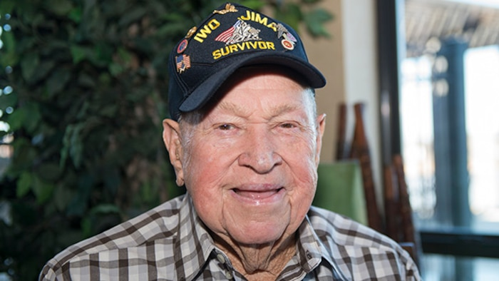 "James ""Jim"" Krodel, a Marine veteran and survivor of the battle for Iwo Jima from Quitman, Texas, poses for a photo during the Iwo Jima Battle Survivors and Family Association 70th anniversary reunion at Wichita Falls, Texas, February 14, 2015. Krodel served in the Marines  1944-1946."