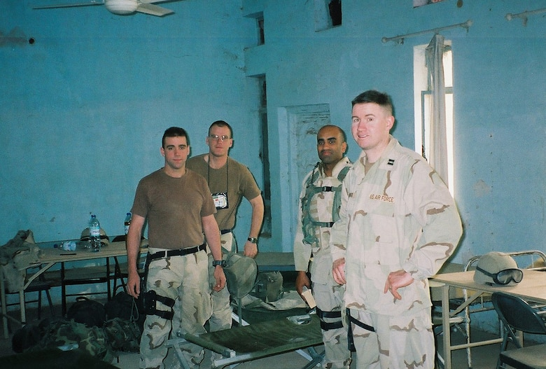 Capt. Terry J. Hamrick Jr., 315th Training Squadron flight commander, poses for a photo while deployed in Iraq, with the Army V Corps, April 2003. His job was to provide intelligence, surveillance and reconnaissance information to the command and control function that directed close air support missions. (Courtesy Photo)