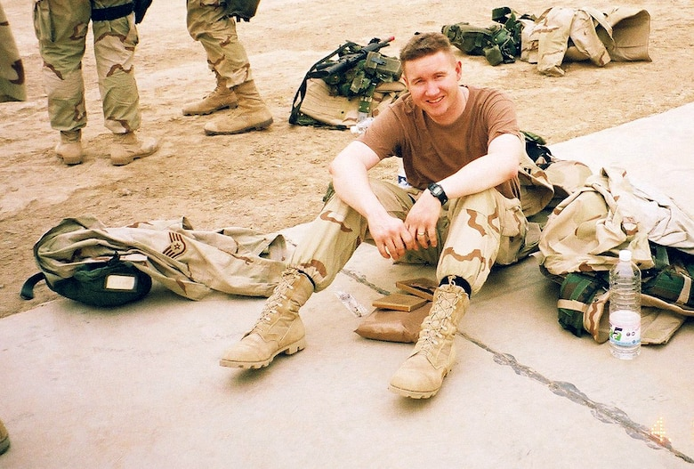 Capt. Terry J. Hamrick Jr., 315th Training Squadron flight commander, takes a break while deployed in Iraq, with the Army V Corps, April 2003. Hamrick was one of the first Air Force Intelligence specialists to deploy with an Army unit inside Iraq and is now the 17th Training Wing Vice Commander at Goodfellow Air Force Base. (Courtesy Photo)