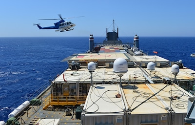 A helicopter approaches the U.S. ship MV Cape Ray to drop off cargo in the Mediterranean Sea, Aug. 4, 2014. U.S. Navy photo by Seaman Desmond Parks