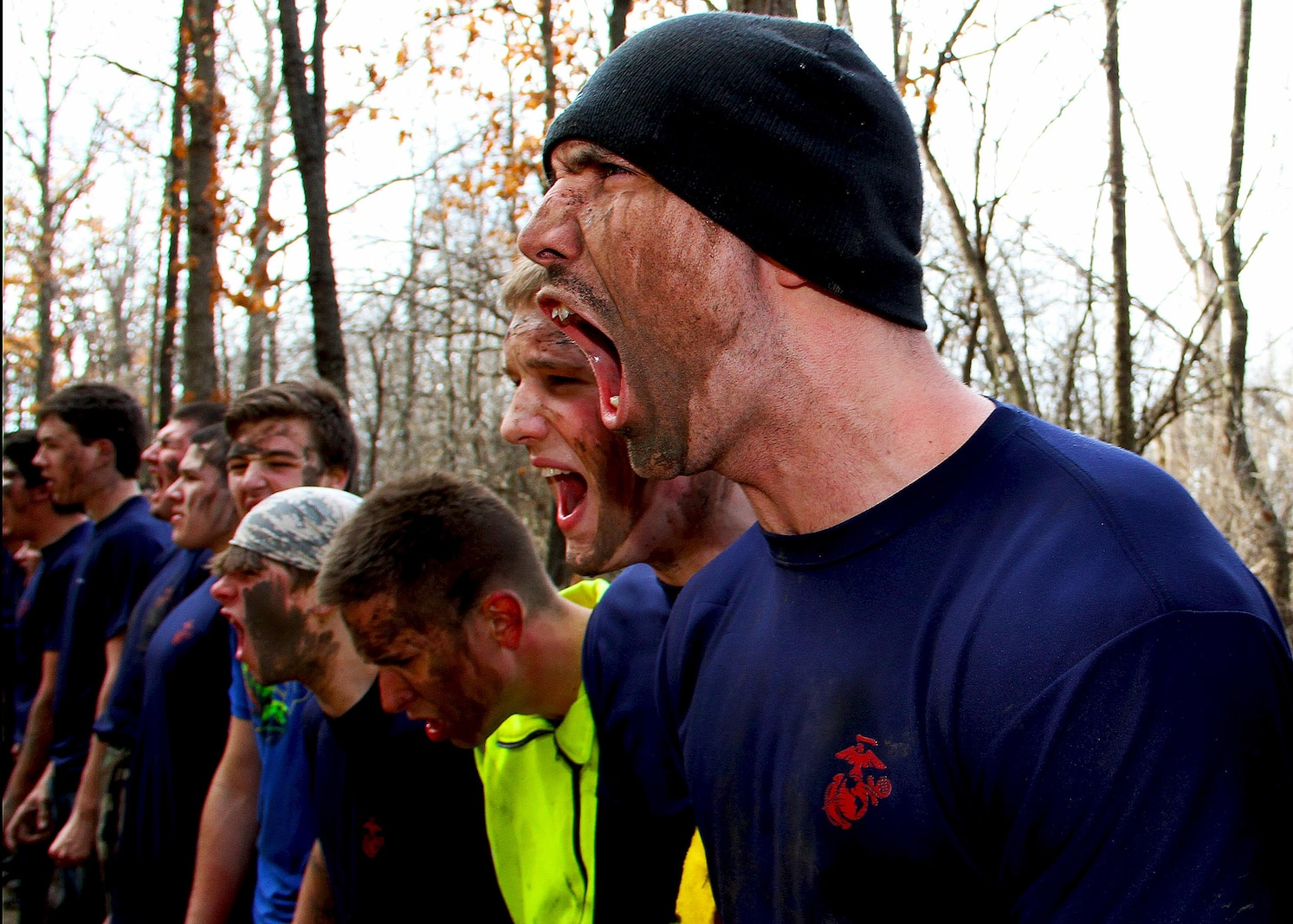 Recruiting Substation Aurora puts their Marine-applicant's endurance to the test with a pack run through rugged terrain during an all-hands event, March 14. The applicants are a part of the Marine Corps' Delayed Entry Program and are currently scheduled and preparing to ship to recruit training.