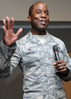 Col. Stacey Hawkins, the 10th Air Base Wing commander, speaks at a commander's call he hosted for the wing's Total Force Airmen March 13, 2015, at the Academy Falcon Club. At the commander's call, Hawkins discussed the importance of leadership in day to day operations and in preparing for the U.S. Air Force Inspector General visit at the Academy, scheduled to occur in April. (U.S. Air Force photo/Todd Ryan)