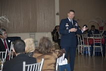 Gen. Robin Rand, commander of Air Education and Training Command, speaks at the Del Rio Chamber of Commerce Annual Awards Banquet in Del Rio, Texas, March 12, 2015. Rand was asked to be the evening's keynote speaker by members of the city's chamber of commerce and military affairs association as they honored Laughlin's annual award winners. The banquet is a tradition in Del Rio and shows the close relationship between the base and the community. (U.S. Air Force photo by Staff Sgt. Nathan Maysonet)