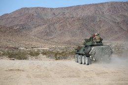 Marines with Light Armored Vehicle Platoon, Company B, Ground Combat Element Integrated Task Force, roll out to the firing line during a Marine Corps Operational Test and Evaluation Activity assessment at Range 500, Marine Corps Air Ground Combat Center Twentynine Palms, California, March 10, 2015. From October 2014 to July 2015, the GCEITF will conduct individual and collective level skills training in designated ground combat arms occupational specialties in order to facilitate the standards-based assessment of the physical performance of Marines in a simulated operating environment performing specific ground combat arms tasks. (U.S. Marine Corps photo by Cpl. Paul S. Martinez/Released)