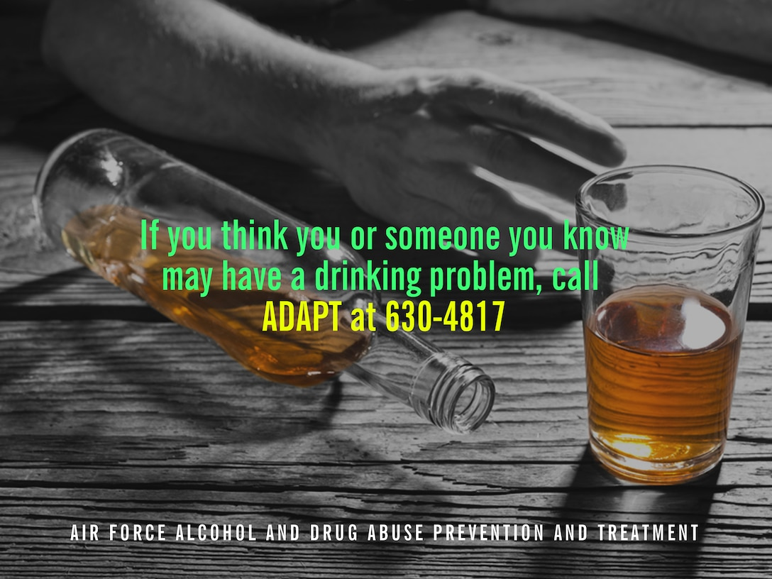 The Air Force Alcohol and Drug Abuse Prevention and Treatment program can help those who think they may have a drinking problem identify healthy and unhealthy alcohol-related behaviors. If you think you or someone you know may have a drinking problem, do not be afraid to reach out for help. (U.S. Air Force graphic by Naoko Shimoji)