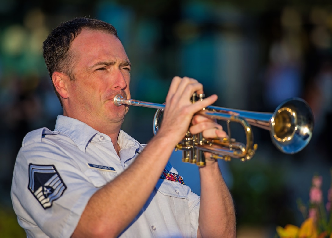 Lead trumpeter Senior Master Sgt. Brian MacDonald and the Airmen of Note will perform a live-streamed concert at the National Trumpet Competition with trumpet great, Scott Wendholt. The concert will be presented on Friday, March 20, at Messiah College in Mechanicsburg, Pennsylvania. (U.S. Air Force photo/released)