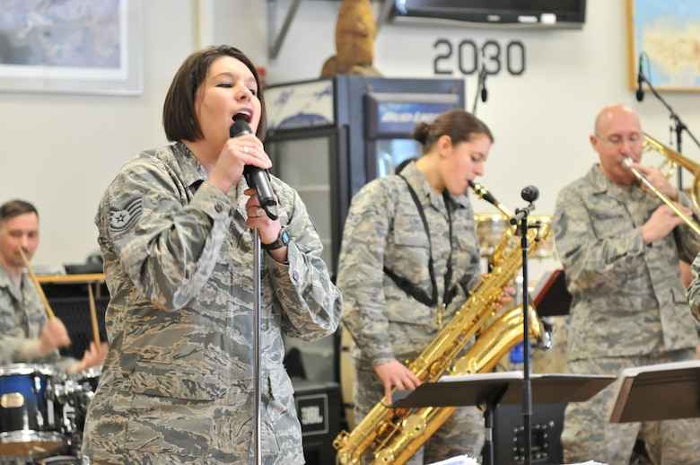 The Air National Guard Band of the Northeast played for members  of Hancock Field Air National Guard Base on March 18, 2015.The mission of the  Air National Guard Band of the Northeast is to provide music to military and  civilian communities in order to instill patriotism, maintain tradition,  represent the militia heritage at its finest, and to promote pride in oneself,  one's unit, and the Commonwealth of Pennsylvania.(New York Air National Guard  photo by Technical Sgt. Jeremy Call/Released)